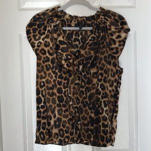 Express leopard print cap sleeve blouse size M